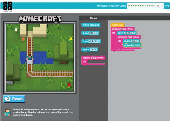 게임 '마인크래프트'를 활용한 코드닷오알지의 교육용 프로그램의 화면. 오른쪽 블록을 조합하면 게임 속 캐릭터를 원하는대로 움직일 수 있다. - 코드닷오알지(code.org) 화면 캡쳐 제공
